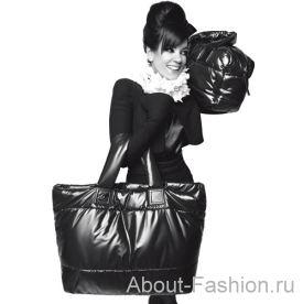 Черные стеганые нейлоновые сумки...  Такие дутые сумки лучше создают.