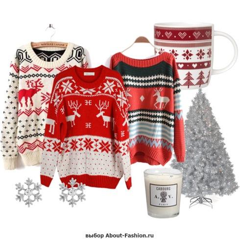 свитер с оленями фото - 006